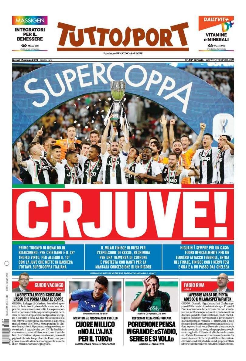 0eb1e757d93c3 Rassegna stampa  la prima pagina di Tuttosport del 17 Gennaio ...