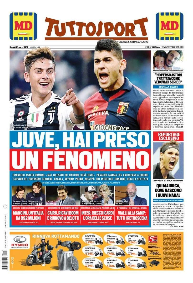 Rassegna stampa: la prima pagina di Tuttosport del 21 marzo