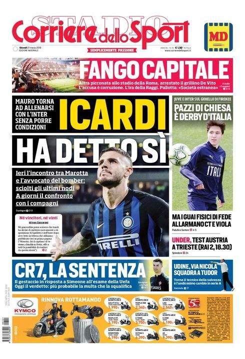 Rassegna stampa: la prima pagina del Corriere del 21 marzo