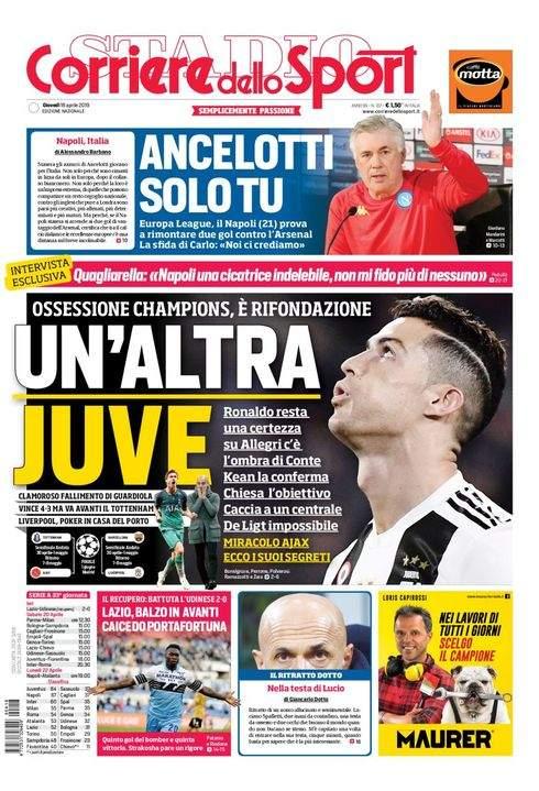 Rassegna stampa: la prima pagina del Corriere del 18 Aprile
