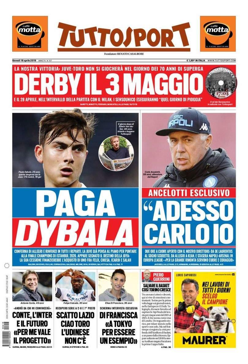 Rassegna stampa: la prima pagina di Tuttosport del 18 Aprile