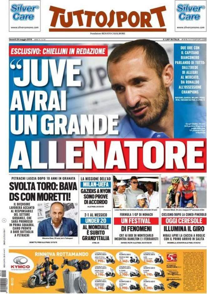 Rassegna stampa: la prima pagina di Tuttosport del 24 Maggio