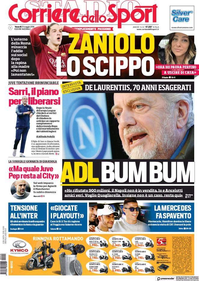 Rassegna stampa: la prima pagina del Corriere del 24 Maggio