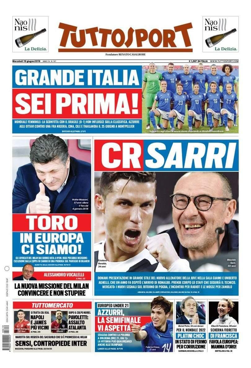 Rassegna stampa: la prima pagina di Tuttosport del 19 Giugno