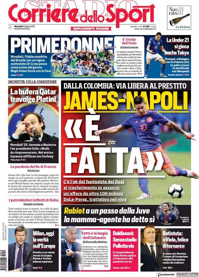 Rassegna stampa: la prima pagina del Corriere del 19 Giugno