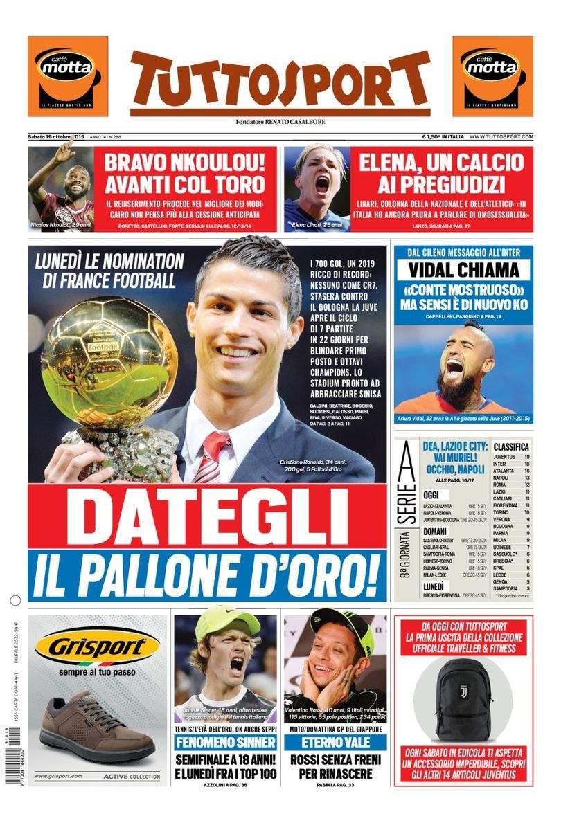 Rassegna stampa: la prima pagina di Tuttosport del 19 Ottobre