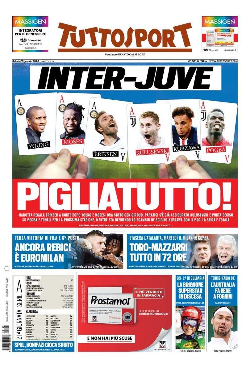 Rassegna stampa: la prima pagina di Tuttosport del 25 Gennaio